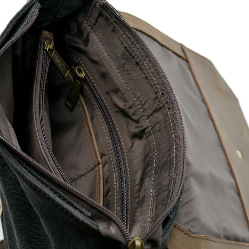 Мужская сумка-месседжер комбинированная из кожи и парусины RG-1307-4lx бренда TARWA