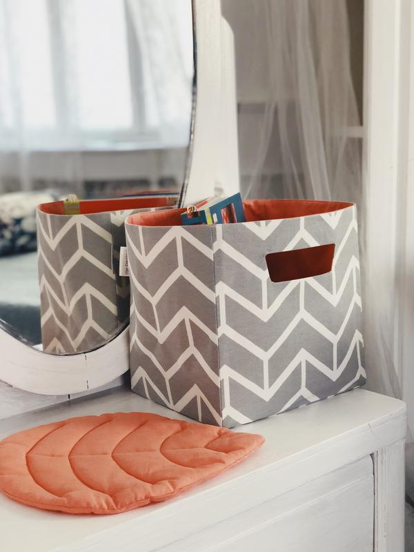 Текстильная, интерьерная корзина. Корзина из ткани. Декор в детскую. Корзина для игрушек.