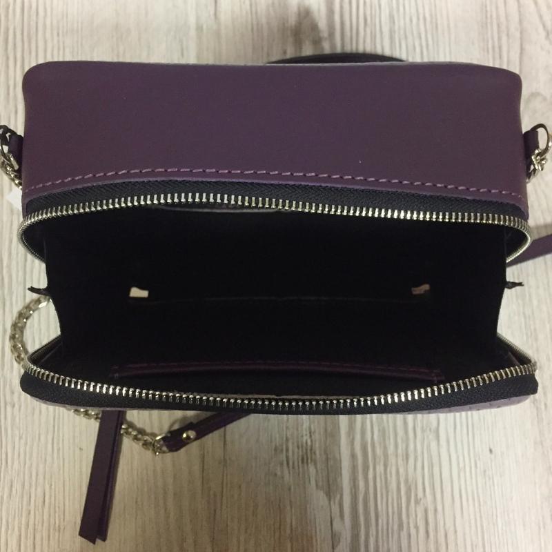 """Женская сумка через плечо """"Квадро"""" из натуральной кожи фиолетово цвета, кроссбоди"""