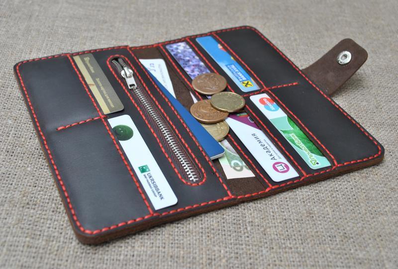 f9b85ef8d78d Вместительный кошелек из натуральной кожи K27h-450+red ручной работы ...