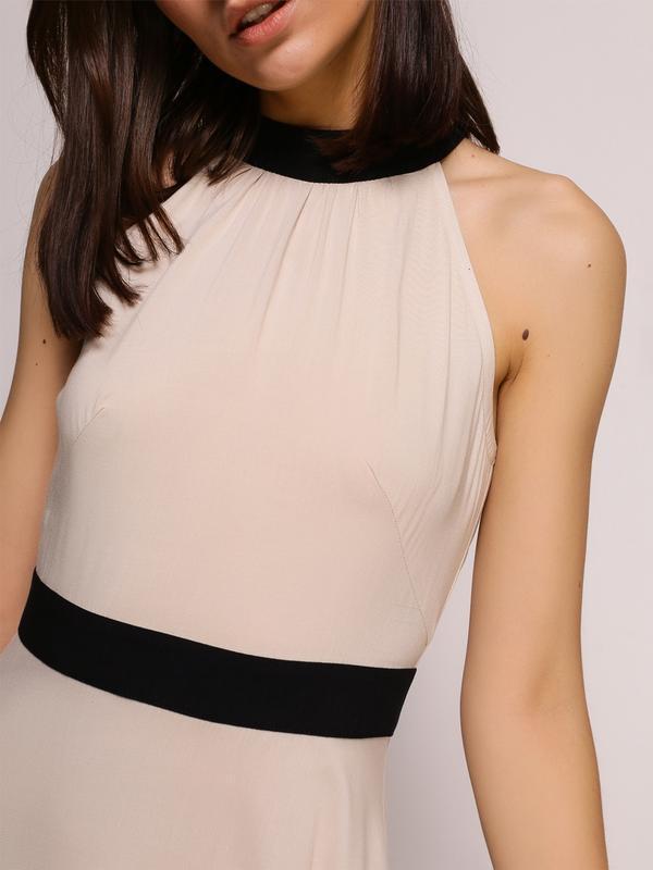 Платье бежевое с черными вставками (XS)