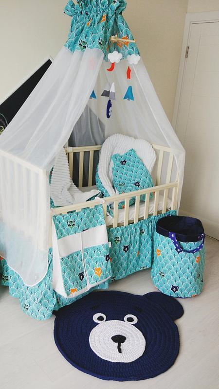 Комплект в кроватку Blue with bears and foxes