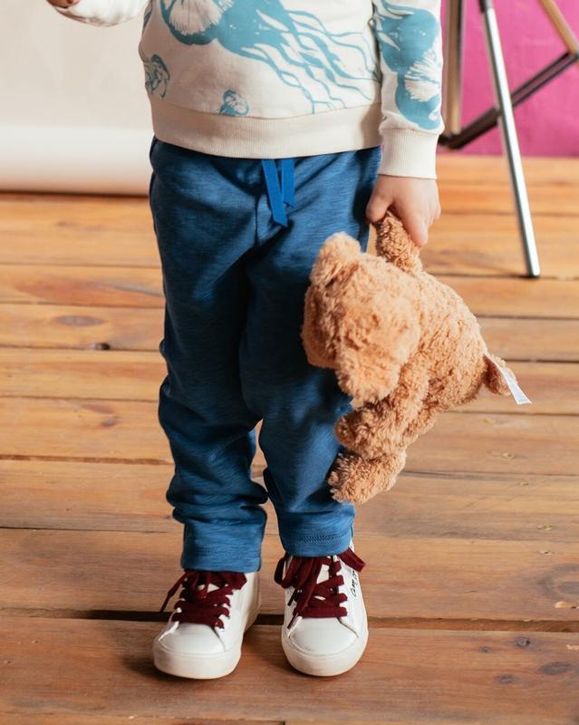 Детские синие трикотажные брюки (без начеса)