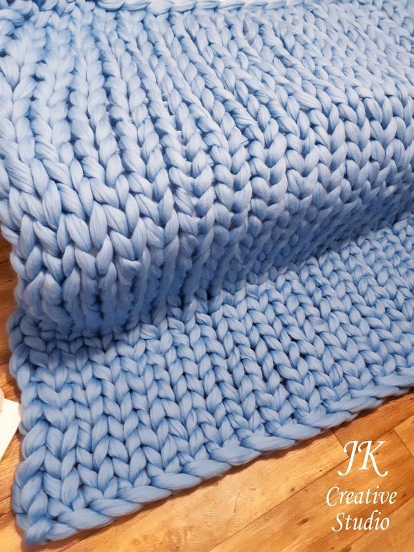 """Плед """"Blue"""" из толстой мериносовой шерсти"""