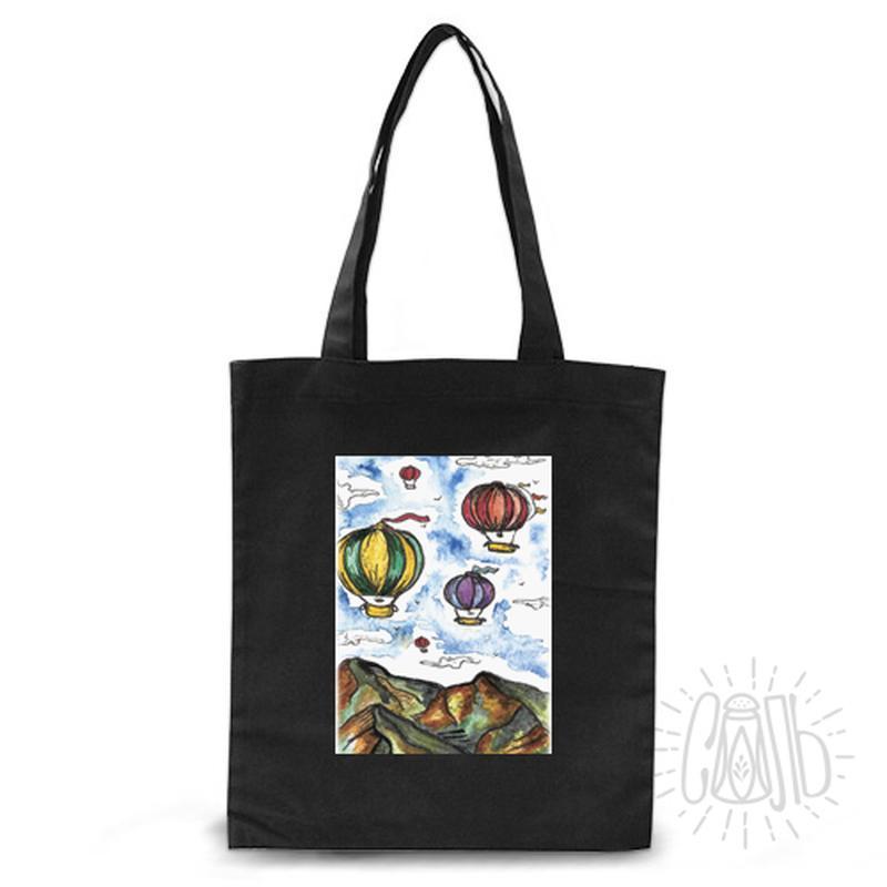 хлопковая эко сумка см дизайном. черная
