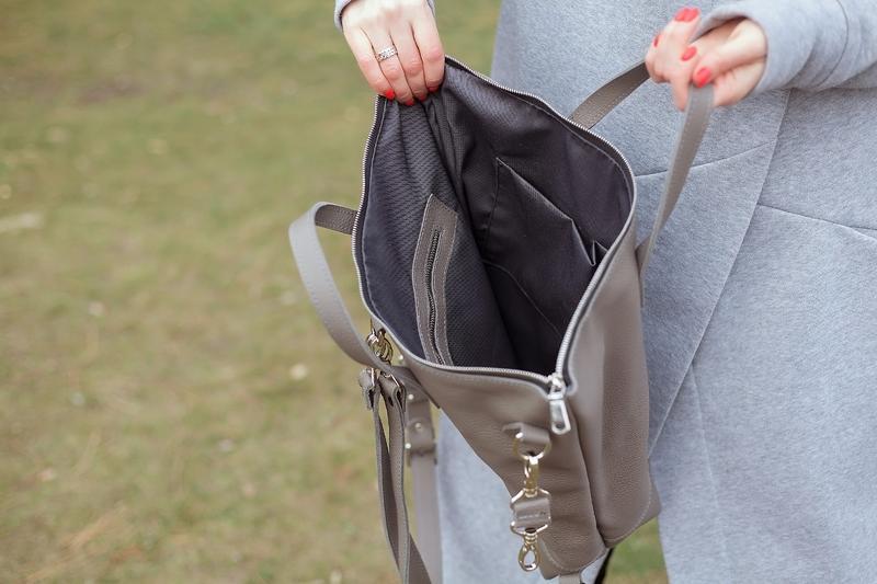 Серая кожаная сумка рюкзак