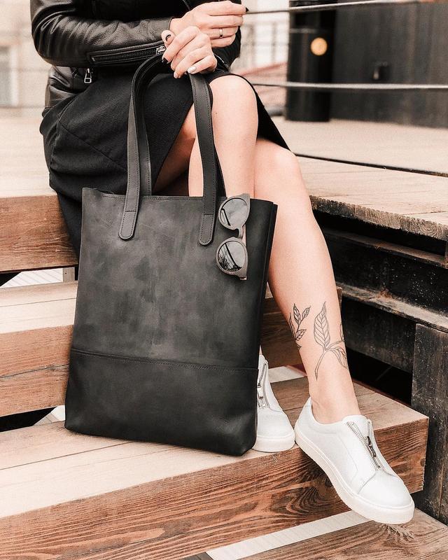 Кожаная сумка шопер, женская кожаная сумка, tote bag