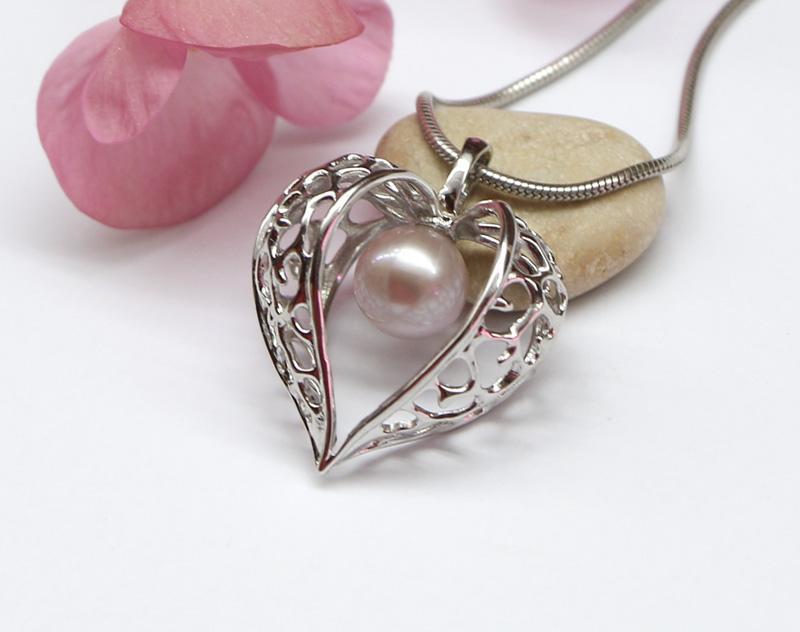 Кулон Физалис, серебро 925, родий, натуральный жемчуг