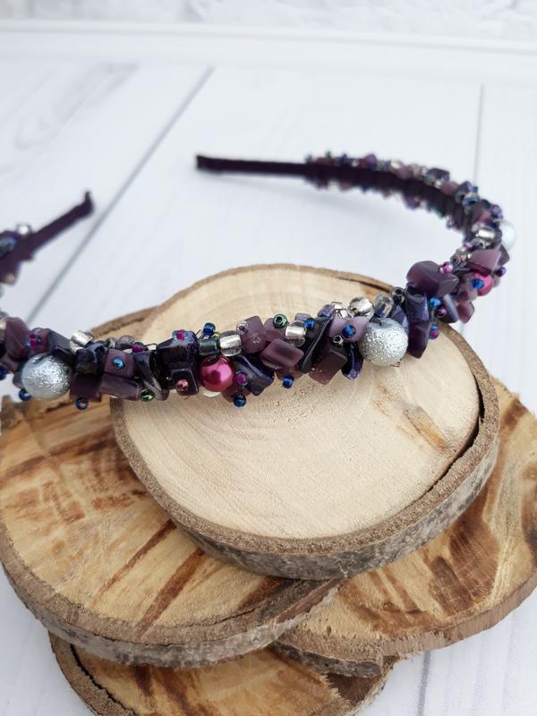 Обруч из натуральных камней сиреневый, фиолетовый