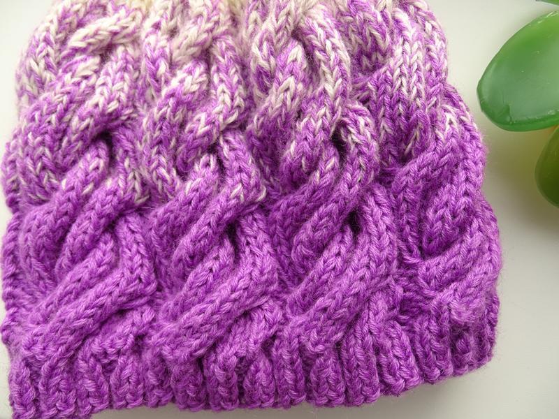 вязаная теплая зимняя шапка градиент из кос в стиле лало