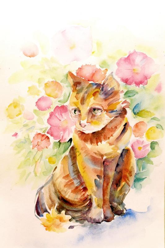 Картина кошка Картины с животными Картина цветы Картина акварелью Подарок Заказать картину