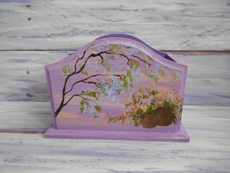 Подставка деревянная, Цветочный орнамент, ручная роспись