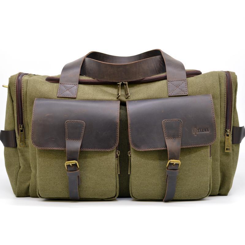 Дорожная сумка микс из парусины канвас и лошадиной кожи RH-5915-4lx бренда TARWA