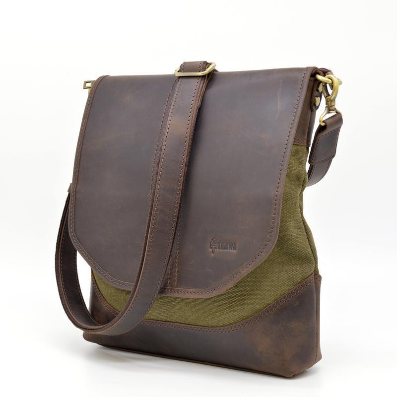 Мужская сумка через плечо из кожи и канвас RH-18072-4lx TARWA с клапаном и кожаным ремнем