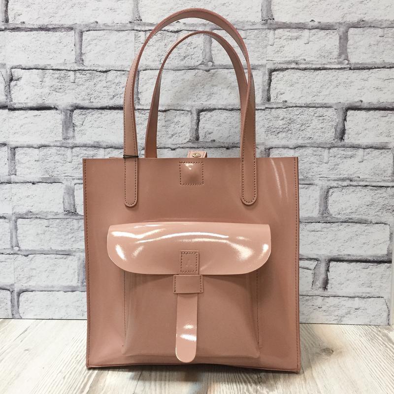 """Женская сумка """"Гарда"""" на плечо из натуральной кожи розового цвета, сумка-шоппер"""