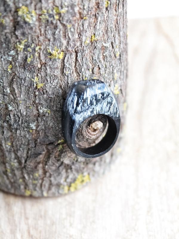 'Чёрный лес', кольцо из дерева и эпоксидной смолы, подарок для женщин и мужчин, перстень унисекс