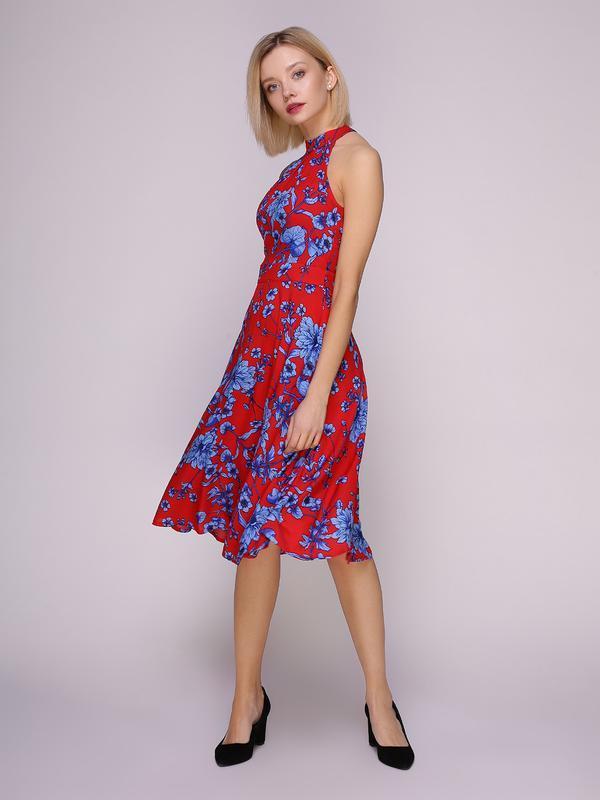 Платье красное в голубые цветы (М)
