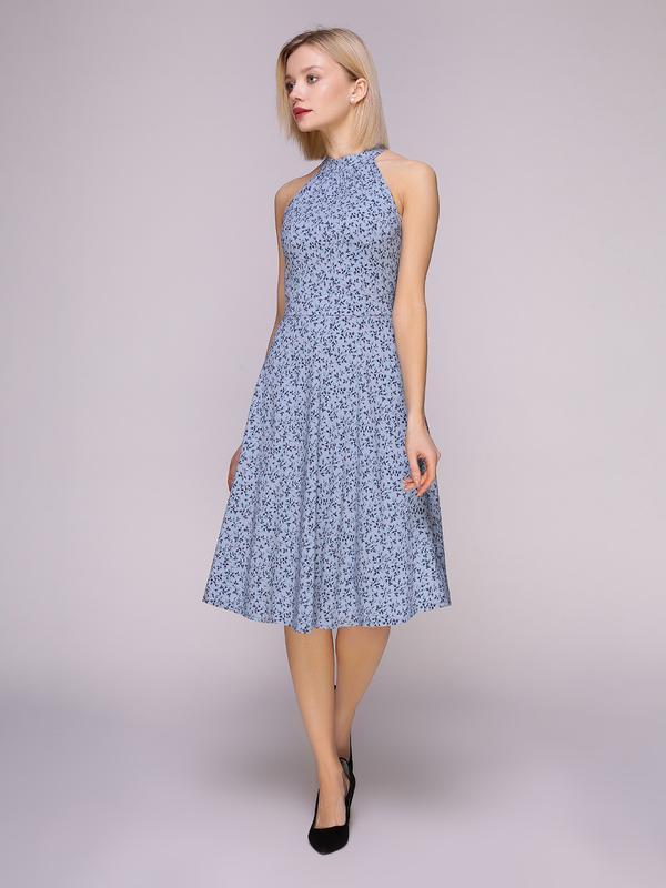 3045d2bf1a1 Платье серо-голубое в цветы ручной работы купить в Украине. №431574
