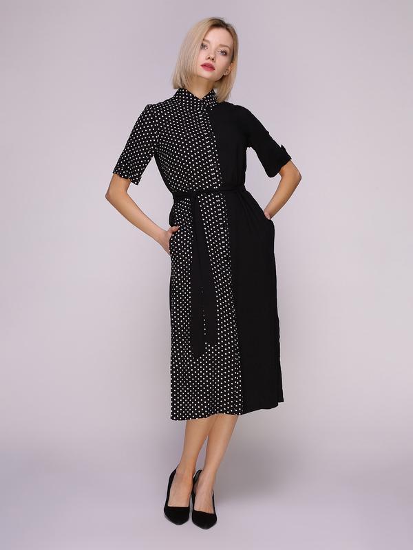 Платье-рубашка черное комбинированное