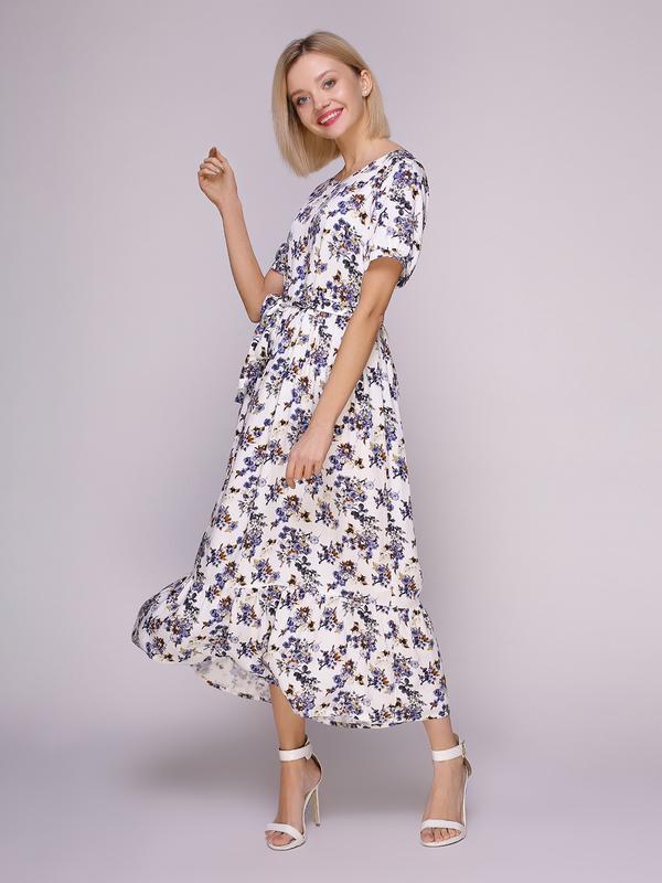 4dc9fb4760b Платье белое в голубые цветы ручной работы купить в Украине. №431580