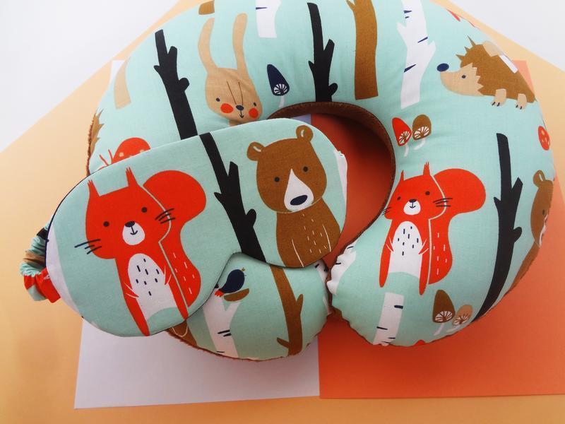 Дорожная подушка- медведь, подушка для путешествий - белка, подушка для шеи - лисица, подушка на шею