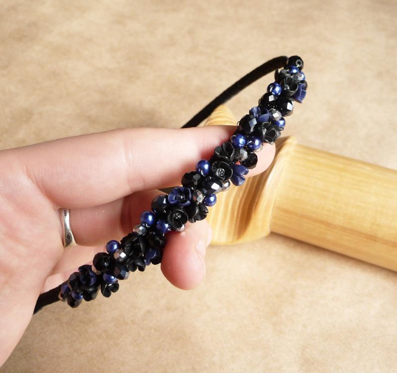 Черно синий вечерний обруч для волос, подарок девушке, украшение для волос