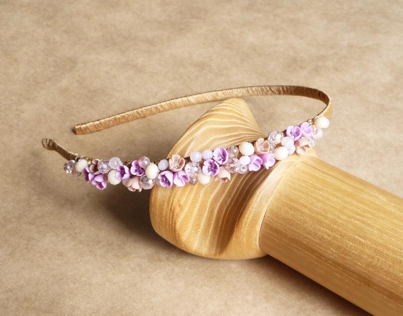 Нежно розовый обруч с цветами, подарок девочке, украшение для волос