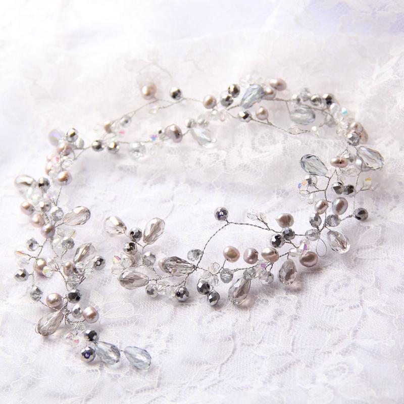 Серебристая длинная веточка (венок) в прическу. Свадебное украшение для волос.