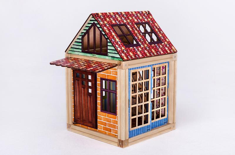 Деревянный магнитный конструктор Woodyco Дачный Домик (84 детали) Цветной. WOODYCO Country House