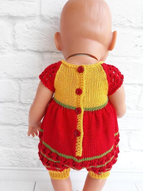 Комбинезон на Беби Борна красный + желтый, одежда на пупса Беби Бон