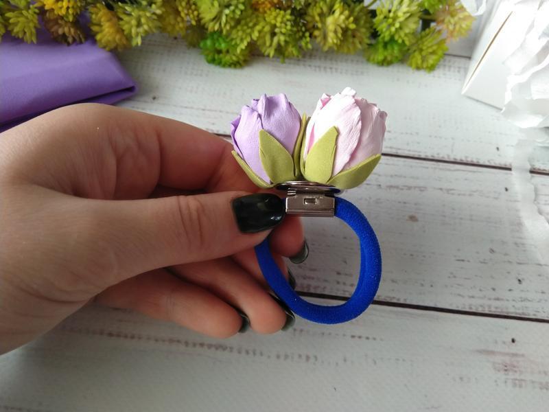 """Резиночка """"Бутончики"""" из фоамирана, бутоны роз на резинке, Цветы на резинке, цветы для волос"""