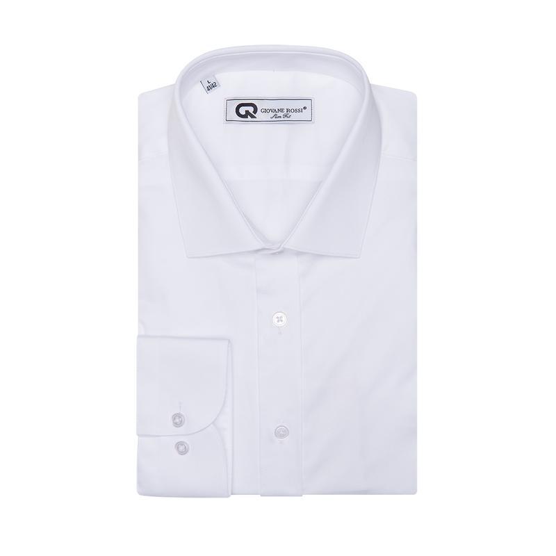 Рубашка приталенная белая 100-001