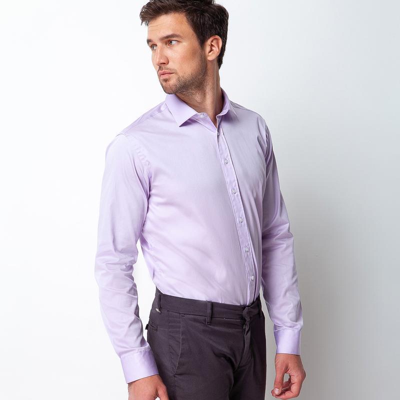 Рубашка приталенная фиолетовая 100-003