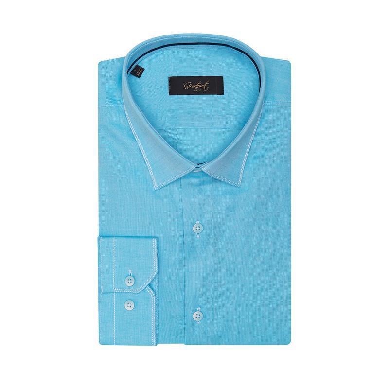 Рубашка приталенная лазурная 410-002