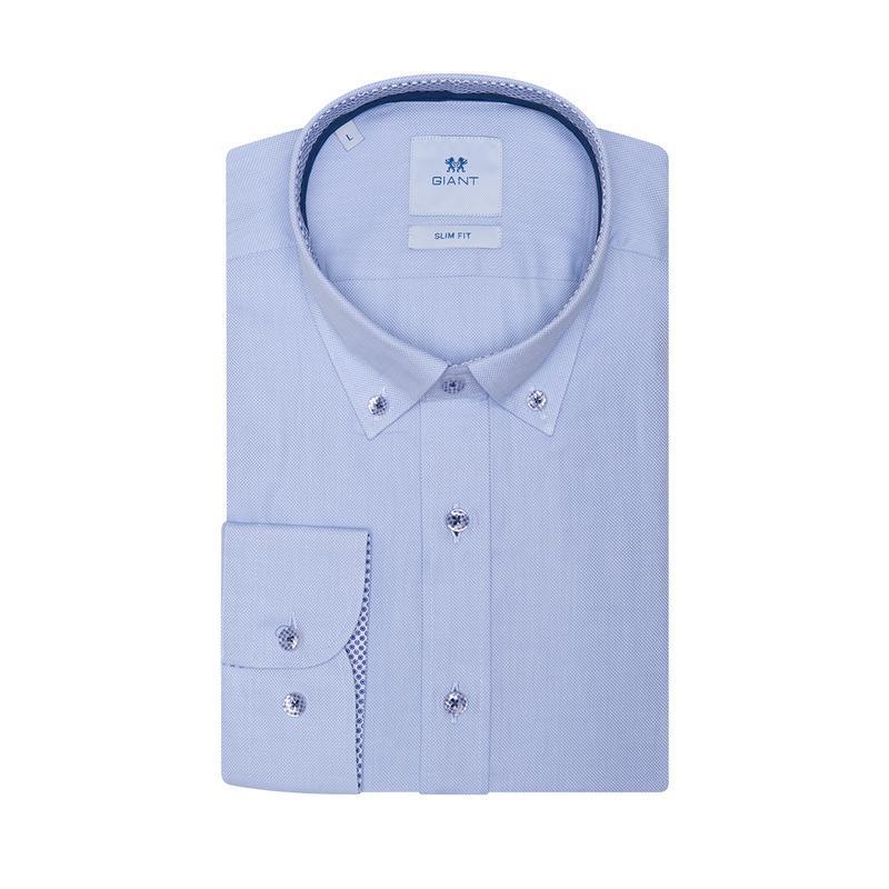 Рубашка приталенная светло-синяя 500-001