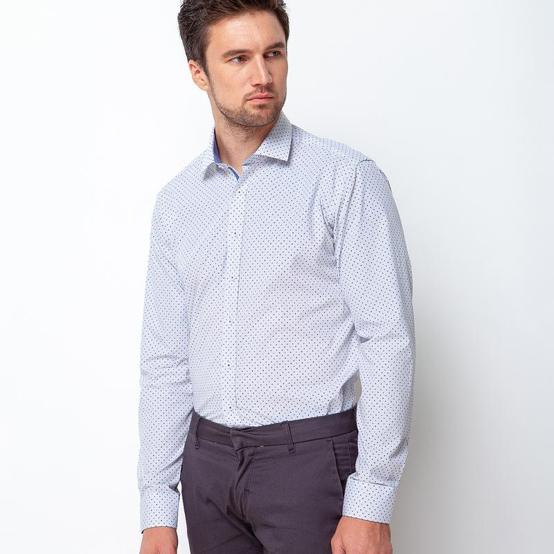 Рубашка приталенная в мелкую точку 500-002
