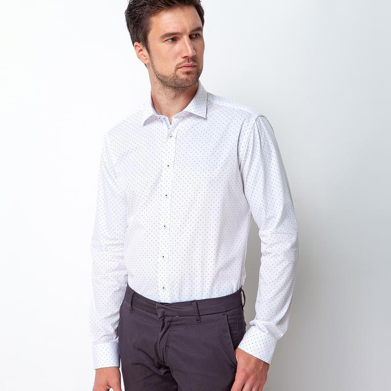 Рубашка приталенная белая в точку 500-003