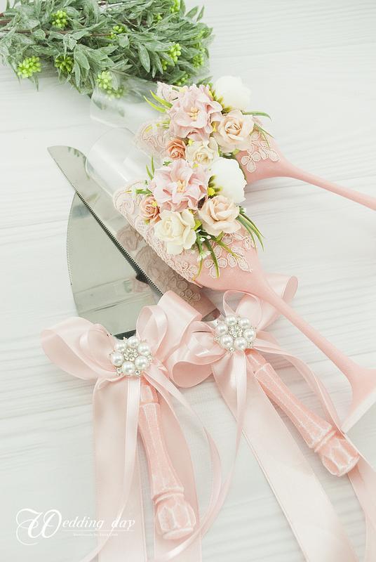 Бокалы пудровые для свадьбы / Пудрові бокали для весілля / Фужери