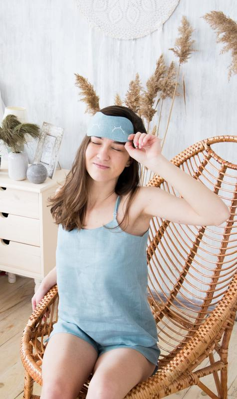 Пижама льняная шорты + топ + маска для сна