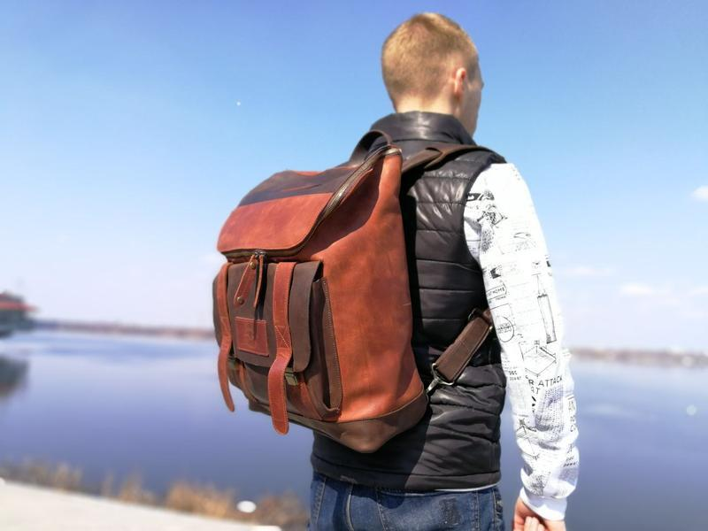 """Мужской кожаный рюкзак """"Калифорния"""". Городской рюкзак из цветной винтажной кожи"""