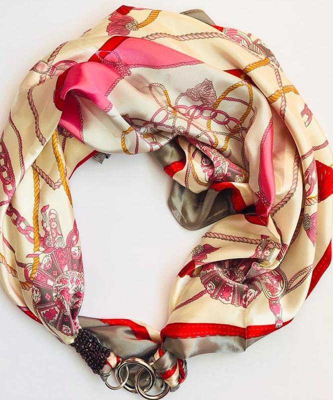 """Атласный платок """"Розовая жемчужина"""" My Scarf, шейный платок, подарок женщине"""