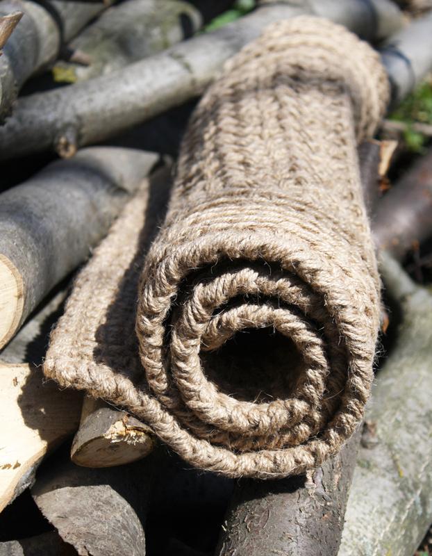 Коврик для прихожей из джута безворсовый натуральный (84х51cм)