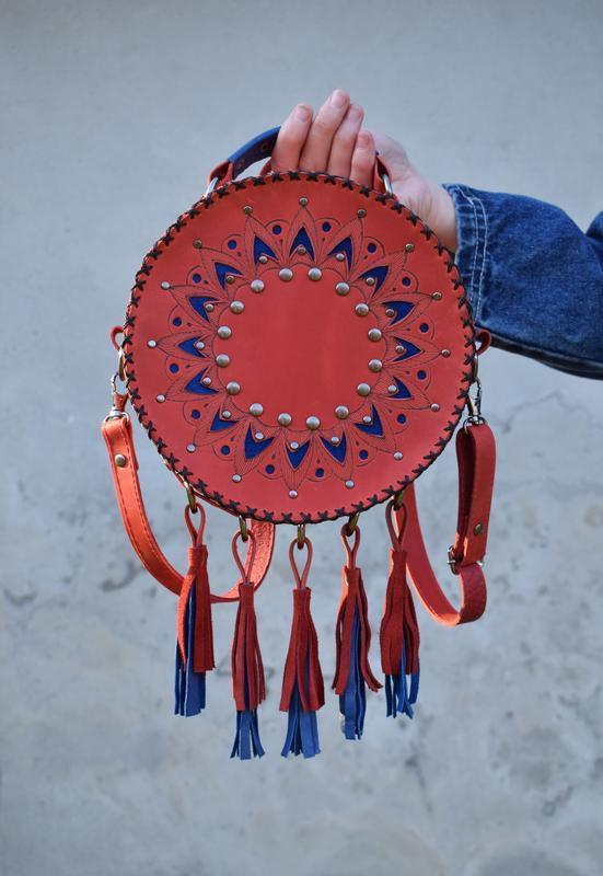 Кругла шкіряна сумка