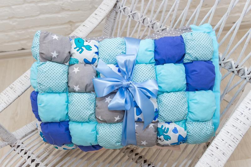 одеяло бомбон синий-коврик для игр-детское одеяло-подарки для новорожденных-подарки на крестины