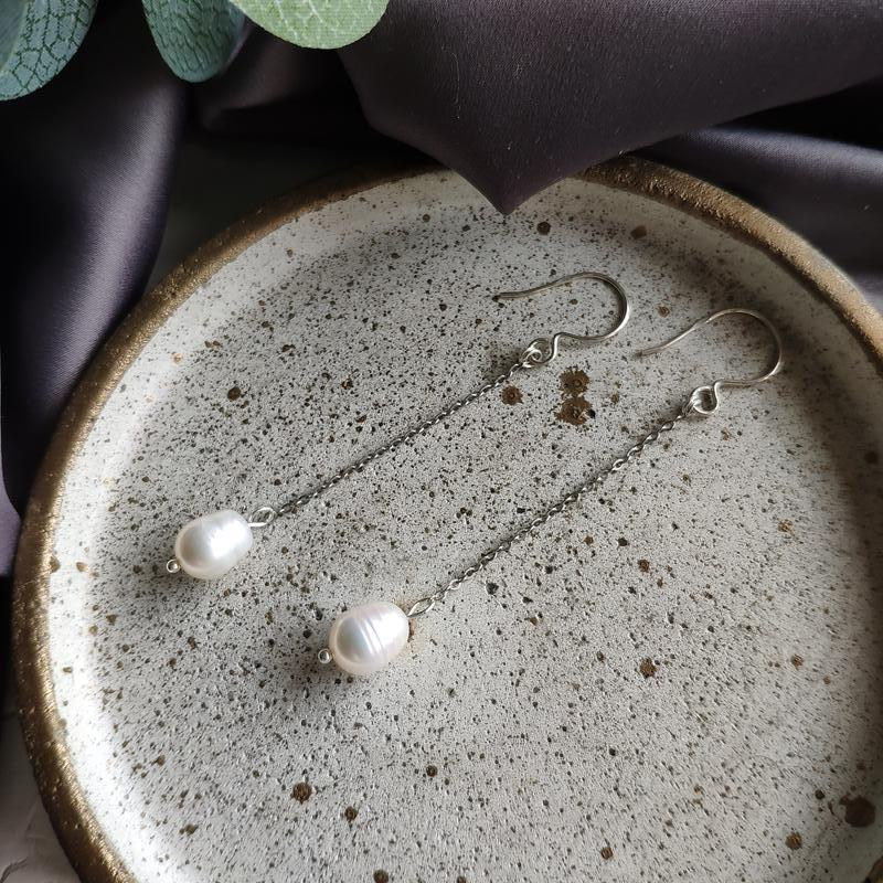 Длинные серебряные серьги с речным жемчугом, Минималистичные серьги на крючке