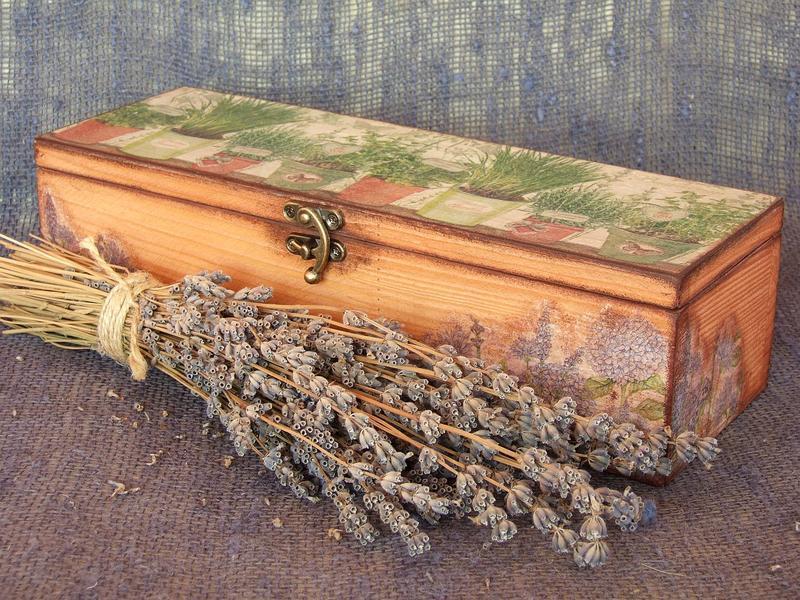 """Большая деревянная шкатулка для специй """"Травы Прованса"""""""