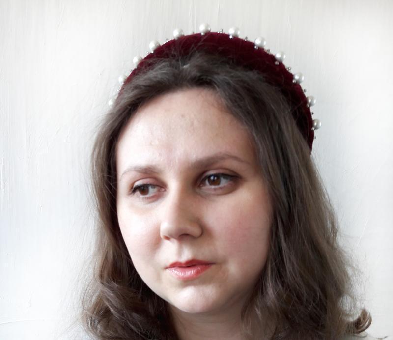 Объемный ободок с жемчугом, Красный бархатный ободок, Украшение для волос с жемчугом