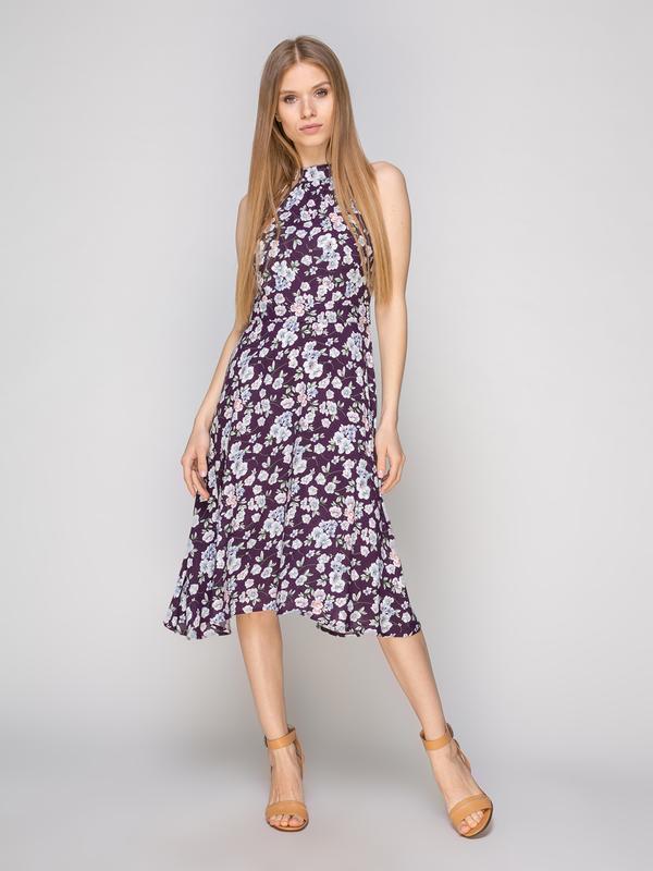 Платье фиолетовое в цветы