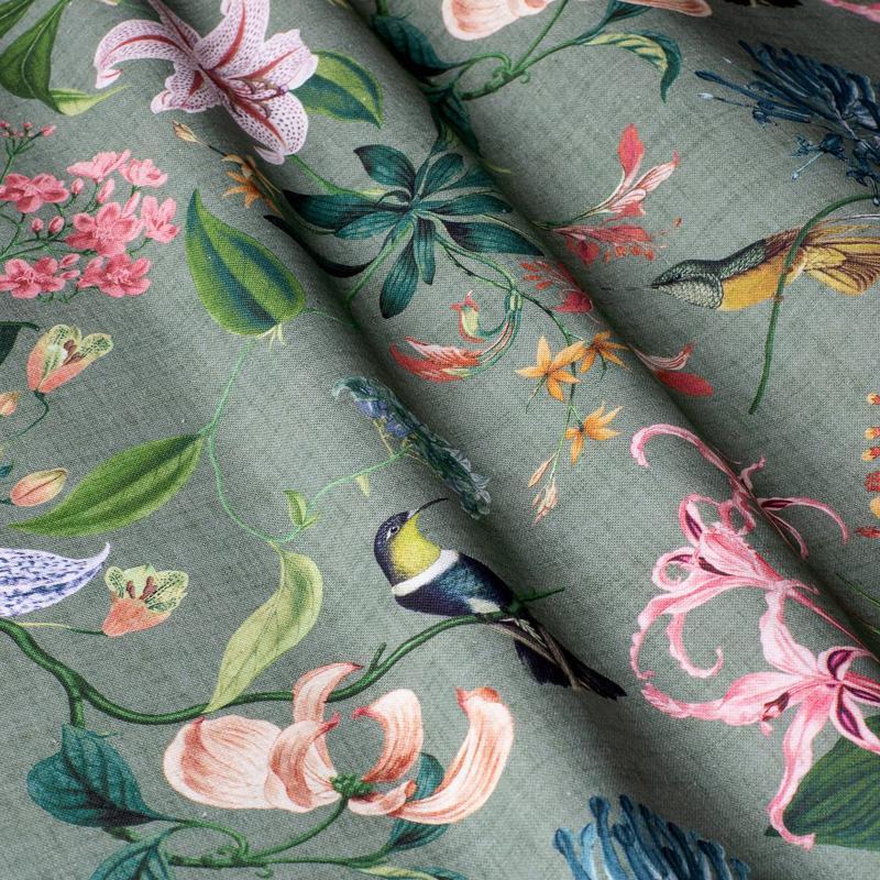 Диванна Подушка гіпоалергенна. Подушка-валик. Прямокутна зелена подушка. Птаха колібрі.