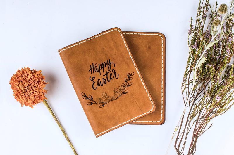 """Обложка для паспорта с гравировкой """"Happy Easter"""" """"Счастливой Пасхи"""""""
